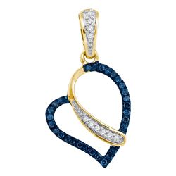 0.13 CTW Blue Color Diamond Heart Love Pendant 10KT Yellow Gold - REF-12M8H
