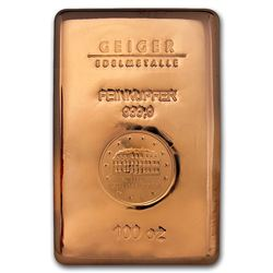 Genuine 100 oz 0.9999 Fine Copper Bar - Geiger Edelmetalle