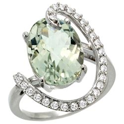 Natural 5.89 ctw Green-amethyst & Diamond Engagement Ring 14K White Gold - REF-91M4H