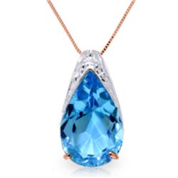 Genuine 6 ctw Blue Topaz Necklace Jewelry 14KT Rose Gold - REF-28W3Y