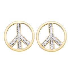 0.15 CTW Diamond Peace Sign Circle Stud Screwback Earrings 10KT Yellow Gold - REF-16X4Y
