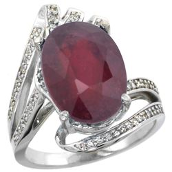Natural 6.28 ctw ruby & Diamond Engagement Ring 14K White Gold - REF-100Z3Y