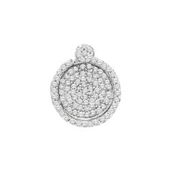 0.33 CTW Pave-set Diamond Circle Cluster Pendant 10KT White Gold - REF-22H4M
