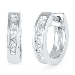 0.06 CTW Diamond Single Row Huggie Earrings 10KT White Gold - REF-10X5Y