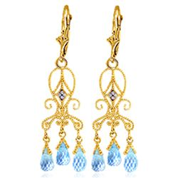 Genuine 4.81 ctw Blue Topaz & Diamond Earrings Jewelry 14KT Yellow Gold - REF-46Z7N