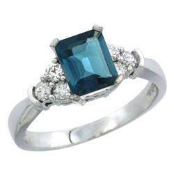 Natural 1.48 ctw london-blue-topaz & Diamond Engagement Ring 14K White Gold - REF-52K7R