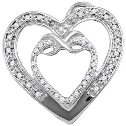 0.10 CTW Diamond Nested Double Heart Love Pendant 10KT White Gold - REF-12M2H
