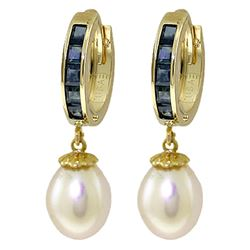 Genuine 9.3 ctw Sapphire & Pearl Earrings Jewelry 14KT Yellow Gold - REF-46H2X