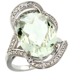 Natural 11.23 ctw green-amethyst & Diamond Engagement Ring 14K White Gold - REF-104R5Z