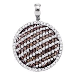 2.24 CTW Cognac-brown Color Diamond Circle Pendant 10KT White Gold - REF-119H9M