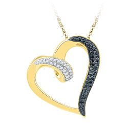 0.16 CTW Black Color Diamond Heart Love Pendant 10KT Yellow Gold - REF-18Y2X