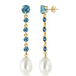 Genuine 10 ctw Blue Topaz & Pearl Earrings Jewelry 14KT Yellow Gold - REF-32M4T