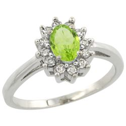 Natural 0.67 ctw Peridot & Diamond Engagement Ring 10K White Gold - REF-38W8K