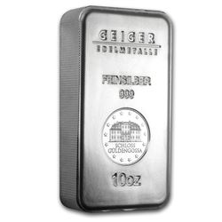 Genuine 10 oz 0.999 Fine Silver Bar - Geiger Security Series