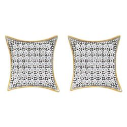 0.40 CTW Diamond Square Kite Cluster Screwback Earrings 10KT Yellow Gold - REF-30N2F