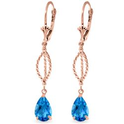 Genuine 3 ctw Blue Topaz Earrings Jewelry 14KT Rose Gold - REF-45Y5F