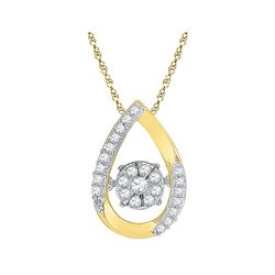 0.15 CTW Diamond Teardrop Moving Twinkle Cluster Pendant 10KT Yellow Gold - REF-18W2K