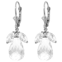 Genuine 14.4 ctw White Topaz Earrings Jewelry 14KT White Gold - REF-46H7X