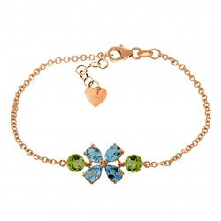 Genuine 3.15 ctw Blue Topaz & Peridot Bracelet Jewelry 14KT Rose Gold - REF-56X4M