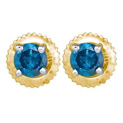 1 CTW Blue Color Diamond Solitaire Stud Earrings 10KT Yellow Gold - REF-63X2Y