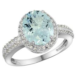 Natural 2.56 ctw Aquamarine & Diamond Engagement Ring 10K White Gold - REF-42N8G
