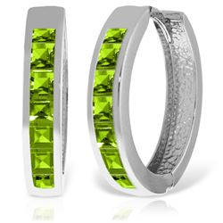 Genuine 1.40 ctw Peridot Earrings Jewelry 14KT White Gold - REF-56X8M