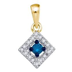 0.20 CTW Blue Color Diamond Square Pendant 10KT Yellow Gold - REF-14W9K