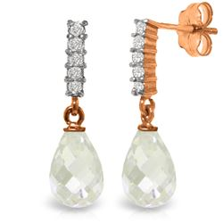 Genuine 4.65 ctw White Topaz & Diamond Earrings Jewelry 14KT Rose Gold - REF-36A2K
