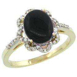 Natural 1.89 ctw Onyx & Diamond Engagement Ring 10K Yellow Gold - REF-27N3G