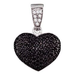 0.55 CTW Black Color Diamond Heart Cluster Pendant 10KT White Gold - REF-24M2H