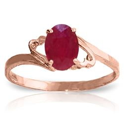 Genuine 1.15 ctw Ruby Ring Jewelry 14KT Rose Gold - REF-24A5K