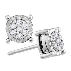 0.14 CTW Diamond Flower Screwback Earrings 10KT White Gold - REF-19M4H