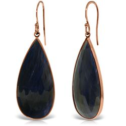 Genuine 42 ctw Sapphire Earrings Jewelry 14KT Rose Gold - REF-110K7V
