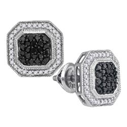 0.50 CTWBlack Color Diamond Geometric Octagon Cluster Earrings 10KT White Gold - REF-34W4K