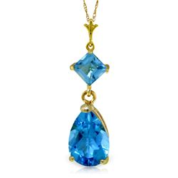 Genuine 2 ctw Blue Topaz Necklace Jewelry 14KT Yellow Gold - REF-24X3M