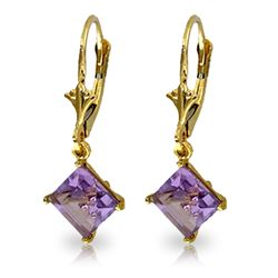 Genuine 3.2 ctw Amethyst Earrings Jewelry 14KT Yellow Gold - REF-30R2P