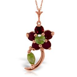 Genuine 0.87 ctw Peridot & Ruby Necklace Jewelry 14KT Rose Gold - REF-26Y9F