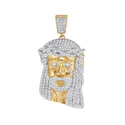 0.85 CTW Mens Diamond Jesus Head Pendant 10KT Yellow Gold - REF-52Y4X