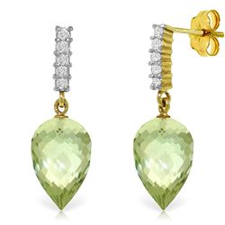 Genuine 19.15 ctw Green Amethyst & Diamond Earrings Jewelry 14KT Yellow Gold - REF-47T4A
