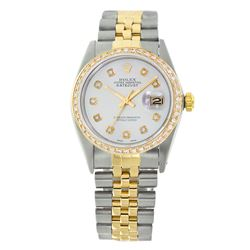 Rolex Pre-owned 36mm Mens Powder Blue Two Tone - REF-610H4N