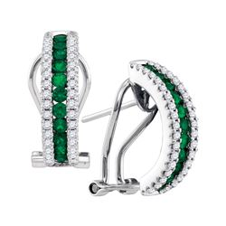 0.63 CTW Emerald Diamond French-clip Hoop Earrings 14KT White Gold - REF-119Y9X