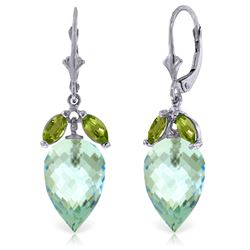 Genuine 23.5 ctw Blue Topaz & Peridot Earrings Jewelry 14KT White Gold - REF-67X9M