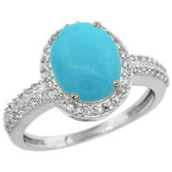 Natural 2.56 ctw Turquoise & Diamond Engagement Ring 14K White Gold - REF-48W6K
