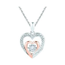 0.10 CTW Diamond Twinkle Moving Heart Love Pendant 10KT Two-tone Gold - REF-18F7N
