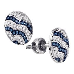 0.20 CTW Blue Color Diamond Cluster Earrings 10KT White Gold - REF-25N4F