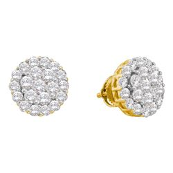 2 CTW Diamond Flower Screwback Earrings 14KT Yellow Gold - REF-146N9F