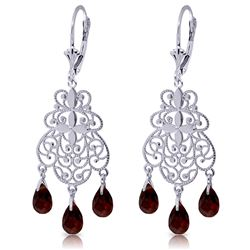 Genuine 3.75 ctw Garnet Earrings Jewelry 14KT White Gold - REF-58K3V