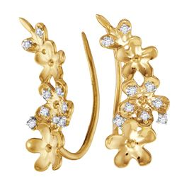 0.10 CTW Diamond Floral Earrings 10KT Yellow Gold - REF-12W2K