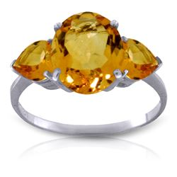 Genuine 3.5 ctw Citrine Ring Jewelry 14KT White Gold - REF-37R7P