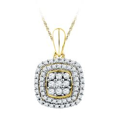 0.33 CTW Diamond Cluster Double Square Pendant 10KT Yellow Gold - REF-22X4Y